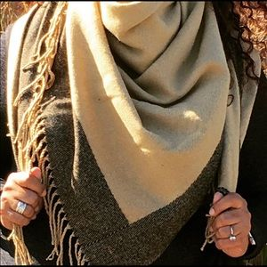 Tan and Black Blanket Scarf /Throwcover